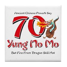 Yung No Mo 70th Birthday Tile Coaster