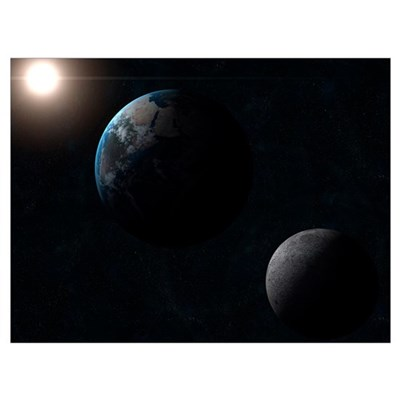 Earth moon and the sun Poster