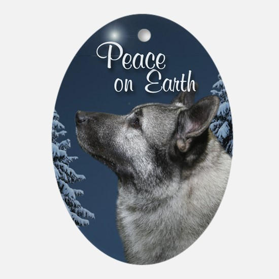 Norwegian Elkhound Peace Ornament