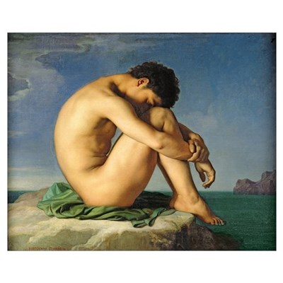 Naked Young Man Sitting by the Sea, 1836 (oil on c Poster