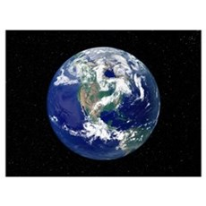 Fully lit Earth centered on North America Poster