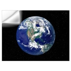Fully lit Earth centered on North America Wall Decal