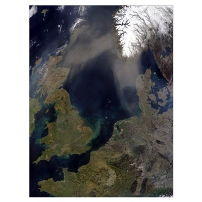 African dust blowing over Scotland across the Nort Poster