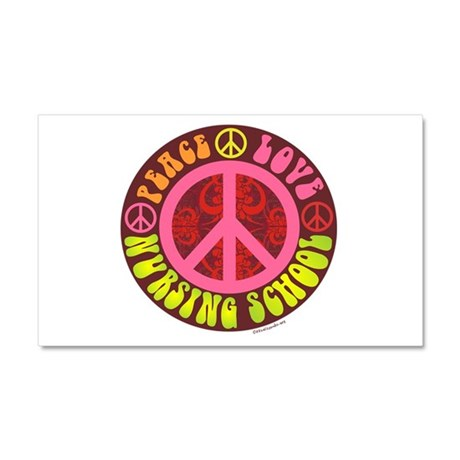 Peace, Love, Nursing School Car Magnet 20 x 12