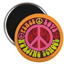 "Peace, Love, Nursing School 2.25"" Magnet (10"