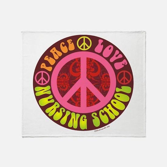 Peace, Love, Nursing School Throw Blanket