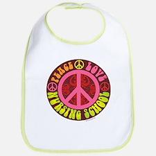Peace, Love, Nursing School Bib