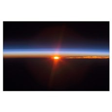 Layers of Earths atmosphere brightly colored as th Poster