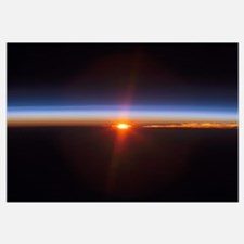 Layers of Earths atmosphere brightly colored as th