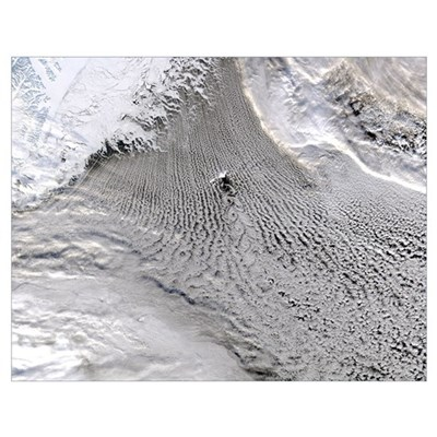 Cloud vortices off Jan Mayen Island Greenland Sea Poster