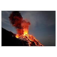 Stromboli eruption Aeolian Islands north of Sicily Poster