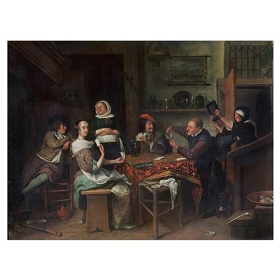 The Card Players (oil on canvas) Poster