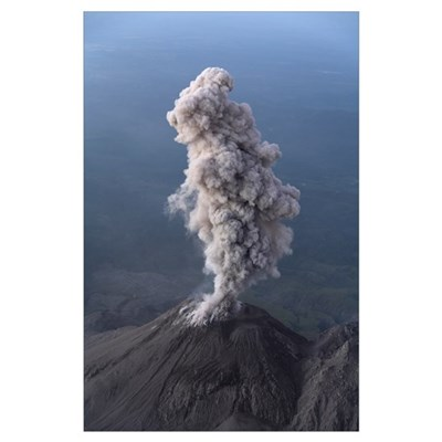 Santiaguito ash eruption Guatemala Poster