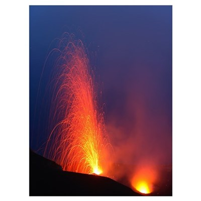 Stromboli eruption Aeolian Islands north of Sicily Poster