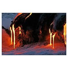 Kilauea lava flow sea entry Big Island Hawaii Poster