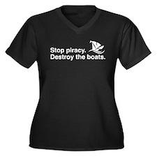 Stop piracy. Destroy the boat Women's Plus Size V-
