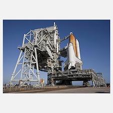 Space shuttle Endeavour atop a mobile launcher pla