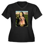 Mona Lisa/Golden #8 Women's Plus Size V-Neck Dark