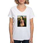 Mona Lisa/Golden #8 Women's V-Neck T-Shirt