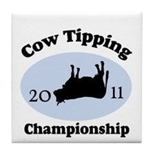 Cow Tipping Championship 2011 Tile Coaster