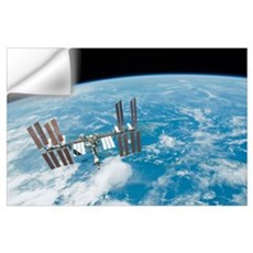 The International Space Station backdropped by Ear Wall Decal