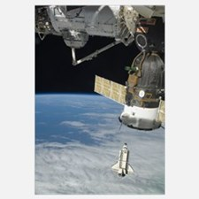 Space shuttle Endeavour a Soyuz spacecraft and the