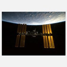 International Space Station backdropped against Ea