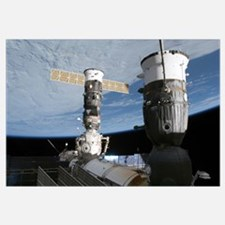 Russian Soyuz and Progress spacecrafts docked to t