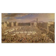 The Market at Naples (oil on canvas) Poster