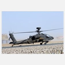 An Apache helicopter prepares for takeoff at Camp