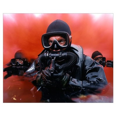 Navy divers on a training reconnaissance exercise Poster