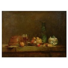 Still Life with a Bottle of Olives, 1760 (oil on c Poster