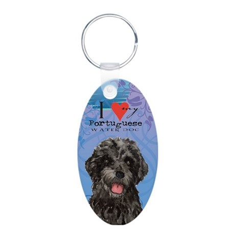 Portuguese Water Dog Aluminum Oval Keychain