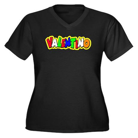 valentino Women's Plus Size V-Neck Dark T-Shirt