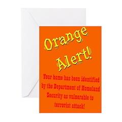 Orange Alert Greeting Cards (Six cards)
