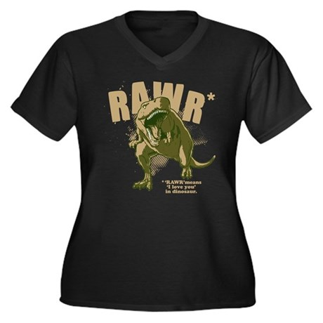 RAWR Dinosaur Women's Plus Size V-Neck Dark T-Shir