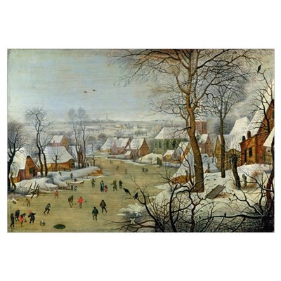 Winter Landscape with Skaters and a Bird Trap Framed Print