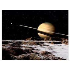 Saturn seen from the surface of its moon, Rhea Canvas Art