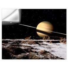 Saturn seen from the surface of its moon, Rhea Wall Decal