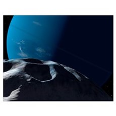 Neptune seen from the surface of its tiny moon, Na Poster