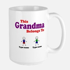 Personalized Grandma 2 boys Large Mug