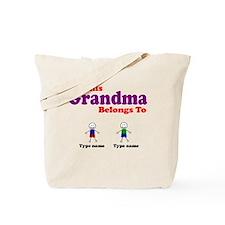 Personalized Grandma 2 boys Tote Bag