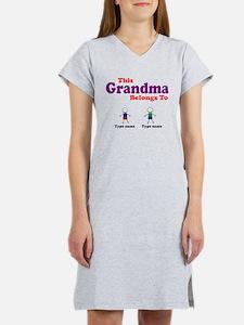 Personalized Grandma 2 boys Women's Nightshirt