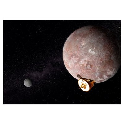 Artists concept of the New Horizons spacecraft fly Poster