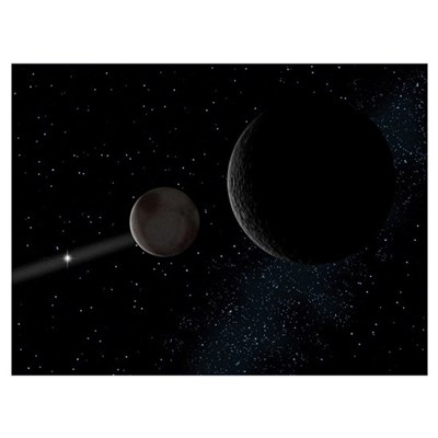 Pluto and its moon Charon lie at the frontier of t Poster