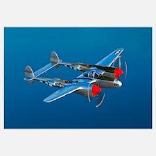 A Lockheed P 38 Lightning fighter aircraft in flig
