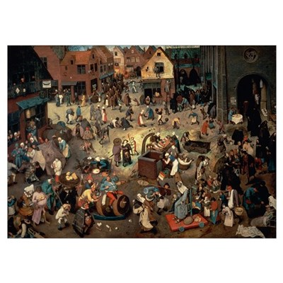 Fight between Carnival and Lent, 1559 (oil on oak Poster