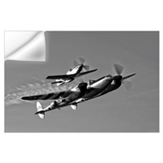 A P 38 Lightning and P 51D Mustang in flight Wall Decal