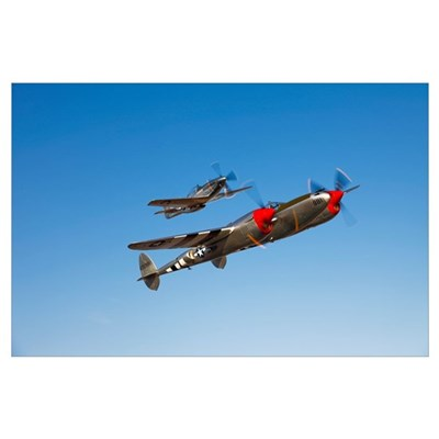 A P 38 Lightning and P 51D Mustang in flight Poster