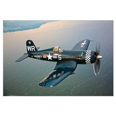 A Vought F4U 5 Corsair in flight Framed Print